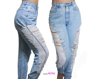 Vintage Shredded  Distressed Sides Custom High Waisted Jeans