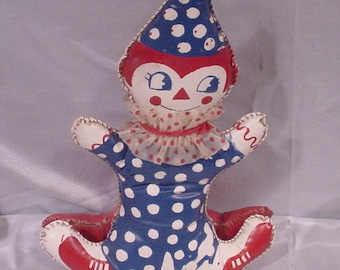 Vintage Clown Doll Plaastic Oil Cloth Colorful Rocks Charmer!