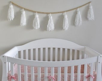 White yarn and gold bead tassel garland for nursery, childrens room, play room