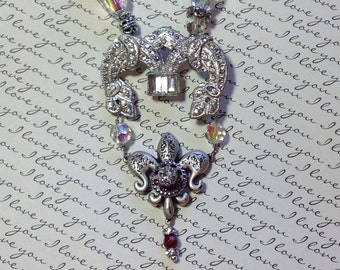 Repurposed Art Deco Belt Buckle Necklace Rhinestone Vintage Crystals Silver Chain France Fleur de lis OOAK Restyled Bling Second time Around