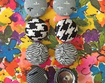 Fabric Button Earrings / 4 Pairs / Wholesale Jewelry / Black White and Gray / Gifts for Her / Stocking Stuffers / Stud Earrings