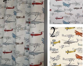 Wonderful Airplane Curtains   FREE SHIP   2 Panels   ANY Size   Pewter, Gray,