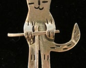 Kitty Cat on Pogo Stick Sterling Silver Charm Mexico 925