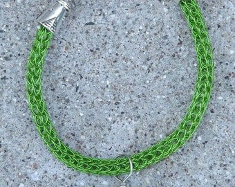 Bracelet Green Viking Knit Design with Leaf and Ladybug Free Shipping To US and Canada