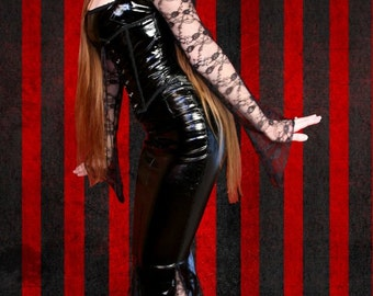 Stunning Gothic Vampire Morticia Pvc & Lace Dress With Metal Boned Corset