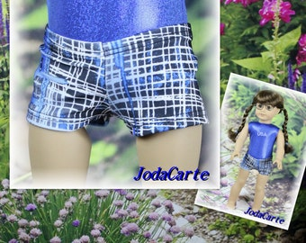 Blue Hashtag Doll Shorts for American Girl Doll