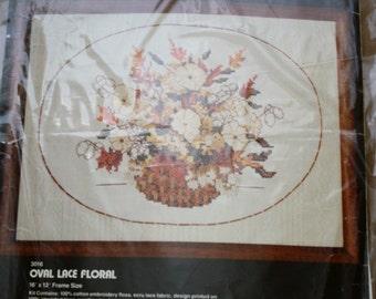 Dimensions - Oval Lace Floral - Cross Stitch Kit - 1979 NIP 16 x 12 Frame Size