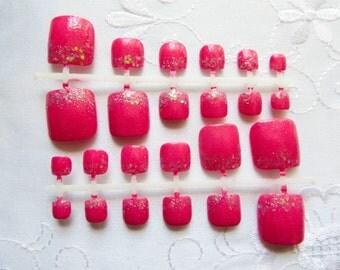 Sparkly Pink - Fake Toenails, Fake Nails, Toenails, Toe Nails, Nails, Acrylic, False, Press on, Toes, Hot Pink, Pedicure