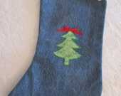 Recycled Denim Blue Jeans Decorated Christmas Stocking - Re-purposed - Fully Lined - Large Size - Christmas Tree