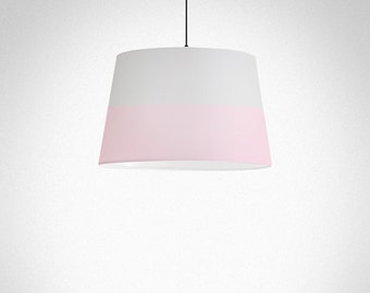 Colours Lines | Lamp Shade, fabric, grey and pink pastel colour