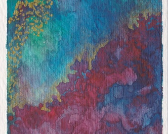 """ACEO Original Abstract Watercolor Painting on Paper 2.5""""x3.5"""" Blue, Red, Gold, Unframed"""
