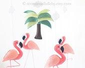 Coral Pink Big Flamingo Mobile, Wool Felt Flamingo, Baby Girl Mobile, Baby Girl Flamingo Nursery Decor, Flamingo Party Baby Shower Birthday
