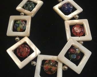 Mother of Pearl and colored Millefiori bangle bracelet