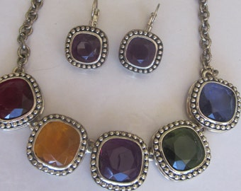 Vintage 80's Jewelry Set, Glass Purple, Green, Blue, Red and Gold Multi-Color Adjustable Necklace and Matching Purple Pierced Earrings