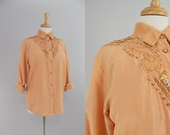 Vtg 80s / 90s PeacHy CoRaL SiLk FLowY APPLiquE Blouse \\ MeDiUm // LeAtHeR GoLd BeAds and SequiN ShiRt ToP