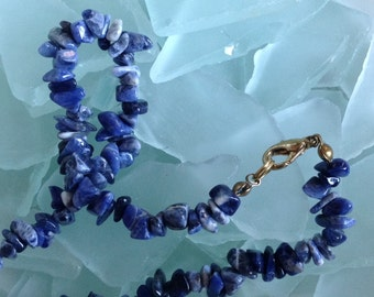 "PRICED TO SELL Vintage Genuine Sodalite Tumbled Nugget Necklace - 18"" Etsy andersonhs"