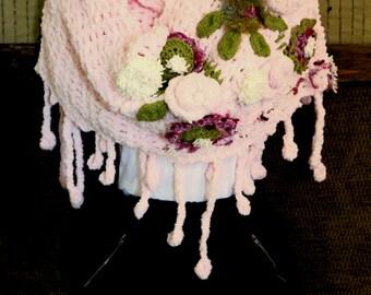 Crochet Scarf Bohemian Flower Shawl Boho Shrug Fringe Neckwarmer Winter Fall Wrap Womens Fashion Gift Pink Evening Scarf Soft And Cuddly