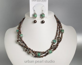 Multi Strand Necklace Brown Pearl and Turquoise Necklace Earrings Set, Southwest Jewelry, Turquoise and Brown Jewelry Set
