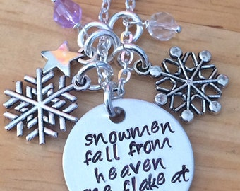 Christmas, Winter Necklace, Snowmen Fall From Heaven One Flake at a Time, Frosty the Snowman Inspired Winter Charm Necklace
