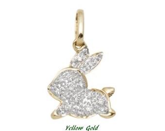 White Diamond and 14k Solid Gold Rabbit Pendant Charm, 14k Gold and Diamond Bunny Pendant Charm, Fine Jewelry Supplies, Minimal