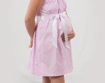 Pink polka dot maternity hospital delivery nursing breastfeeding gown, dress