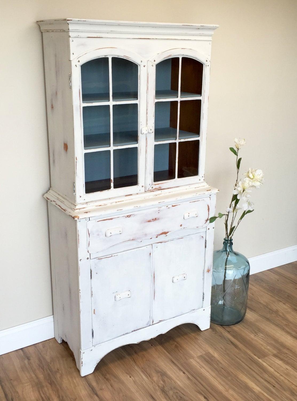 White Kitchen Hutch Cabinet White Vintage Hutch Small Rustic Hutch Blue And White