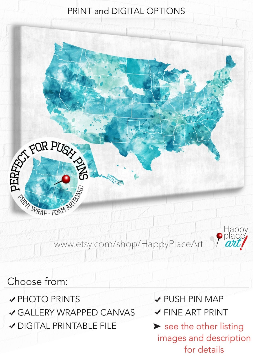 Aqua Mint Green Turquoise USA Map Download Or Print - Us travel map push pin