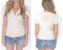 Vintage ivory wrap blouse cotton India top wrap front deep v neck blouse size small boho India top India blouse