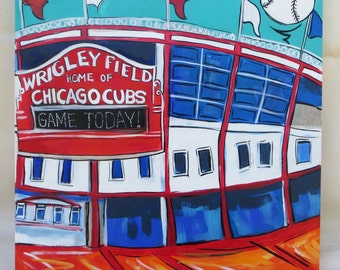 Wrigley Field - Home of the Chicago Cubs - 16x16 Inch Original Acrylic Painting