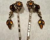 Amber Dangle Hairpin, Repurposed Vintage Earrings, Rhinestones