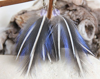 Blue Feather Earrings Shamanic Blue Gray Feather Earrings Boho Feather Earrings Bohemian Feather Earrings Blue Feather Earrings Grey Feather