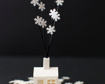 Tiny Paper House with snowflakes - Christmas paper house - Paper Art