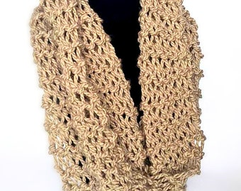 Knit Light Brown Infinity Scarf - Knit Infinity Scarf - Knit Scarf - Chunky Scarf - Circle Scarf - Winter Scarf -  Chunky Knit Scarf