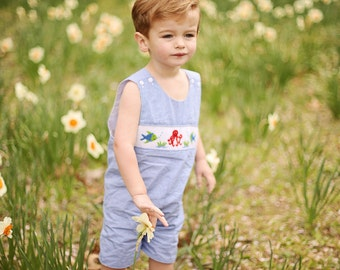 """Boys Blue Gingham Smocked """"Ocean Beach Themed Octopus and Fish"""" Jon Jon-Shortall is Great for Photos! Matches Sister Dress-Ships in 2 days!"""