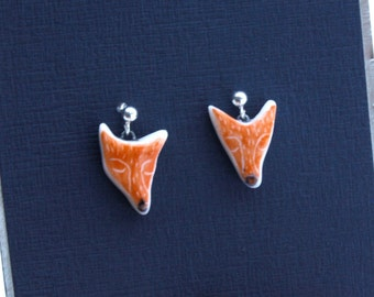 Porcelain and silver fox earrings