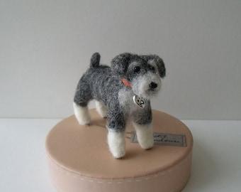 Mini felted Schnauzer terrier