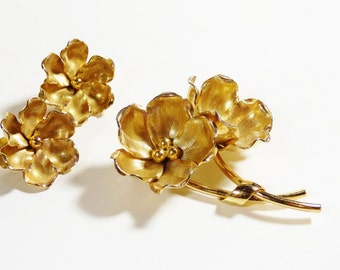 Lovely Henkel and Grosse - Brooch Set - Dior Designer - Germany Floral Costume Jewelry Set: Pin and Earrings