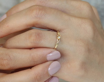Gold Ring • Dainty gold ring set with zircon • Promise ring