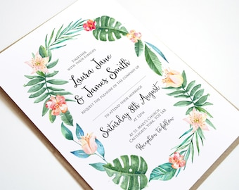 Tropical Wreath Wedding Invitation - SAMPLE