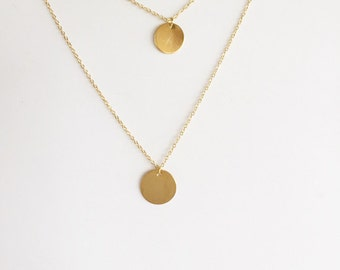 Double necklace - Long disc necklace - Layered necklace - Minimalist jewelry - Bare jewelry - Dainty necklace - Gold dot necklace