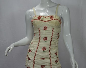 1950s Jantzen Iconic Swimsuit with Red Floral Embroidery and Ruching