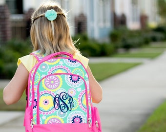 Piper Medallion Design Backpack - May be Monogrammed or Personalized with Embroidered Name - Back to School Book Bag Hot Pink & Mint