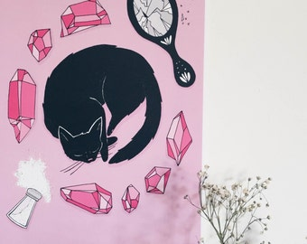 Hex Education A4 print / Witch / Pink / Pastel / Magic / Cat / Black Cat / Bad luck / Unlucky / Crystals / Illustration / Art / Creepy