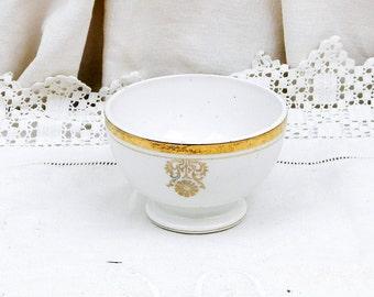 Antique French Farmhouse Porcelain White and Gold Coffee Bowl / Café au Lait / French Country Decor Vintage Retro Home Interior Shabby Chic