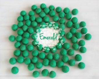 Wool Felt Balls - Size, Approx. 2CM - (18 - 20mm) - 25 Felt Balls Pack - Color Emerald-1080 - Emerald Color Felt Balls - Felt Pom Poms