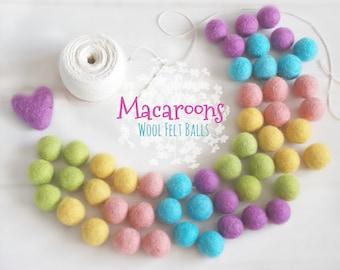 Macaroons Felt Balls  - 100% Wool Felt Balls - 50 Wool Felt Balls -2cm Felt Balls - Macaroon Garland - Pastel Colors - Pom Poms - Felt Balls
