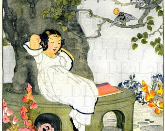 Little Girl Listens To A Cicada Insect Band! VINTAGE Illustration. Art Deco Garden Digital DOWNLOAD. Printable Image. Janet Laura Scott.