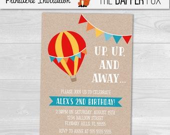 Hot Air Balloon Kraft Birthday Invitation Boys Birthday Invitation - Printable - Unisex First Birthday kraft paper Rustic Invitation