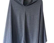 Grey Poncho Cape, Boho Oversized Sweater, Asimetric Poncho, Maternity Shawl, Lightweight Knit Shawl