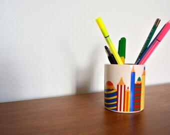 Vintage Ceramic Children Pencil Holder. T. G. Green Church Gresley. Made in England Small Pen Container. Retro 70s Ceramic Desk Organizer